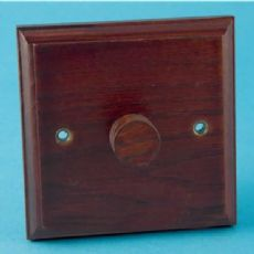 Varilight Kilnwood 1 Gang 400W 2 Way Push-on Push-off Dimmer Mahogany Finish HK3M